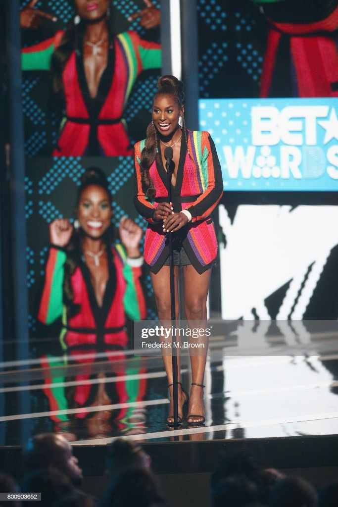 Issa Rae speaks onstage at 2017 BET Awards at Microsoft Theater on June 25, 2017 in Los Angeles, California.