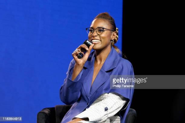 Issa Rae speaks onstage at the REVOLT X ATT Host REVOLT Summit In Los Angeles at Magic Box on October 27 2019 in Los Angeles California