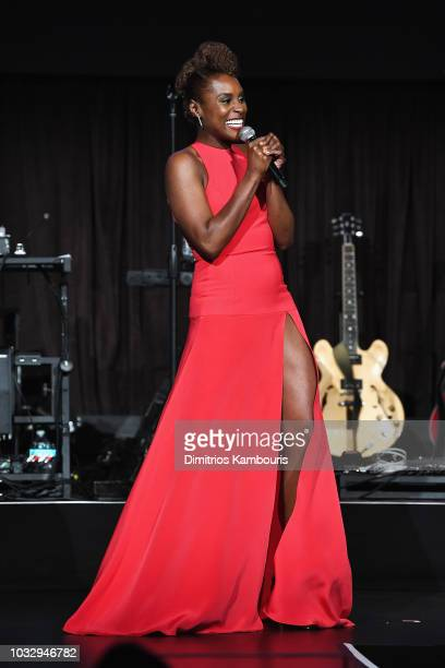 Issa Rae speaks onstage during Rihanna's 4th Annual Diamond Ball benefitting The Clara Lionel Foundation at Cipriani Wall Street on September 13 2018...