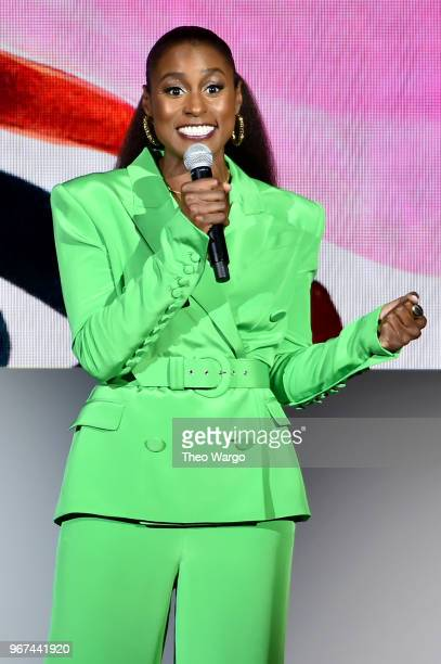 Issa Rae speaks onstage during the 2018 CFDA Fashion Awards at Brooklyn Museum on June 4 2018 in New York City