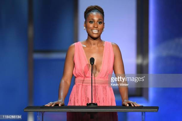 Issa Rae speaks onstage during the 47th AFI Life Achievement Award honoring Denzel Washington at Dolby Theatre on June 06 2019 in Hollywood...