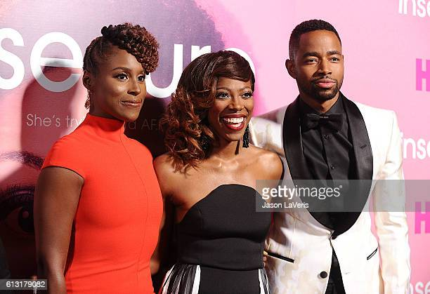 Issa Rae Yvonne Orji and Jay Ellis attend the premiere of Insecure at Nate Holden Performing Arts Center on October 6 2016 in Los Angeles California