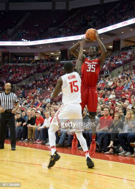 Issa Thiam of the Rutgers Scarlet Knights attempts a three point basket during the game between the Ohio State Buckeyes and the Rutgers Scarlet...