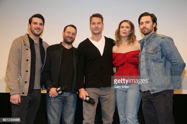 Issac Aptaker Dan Fogelman Justin Hartley Mandy Moore and Milo Ventimiglia attend a screening of This Is Us 2nd season finale at the Paramount...