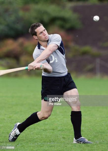 Issac Boss of Ireland plays with a hurling stick during training at Auckland Boys Grammar School June 13 2006 in Auckland New Zealand Ireland play...