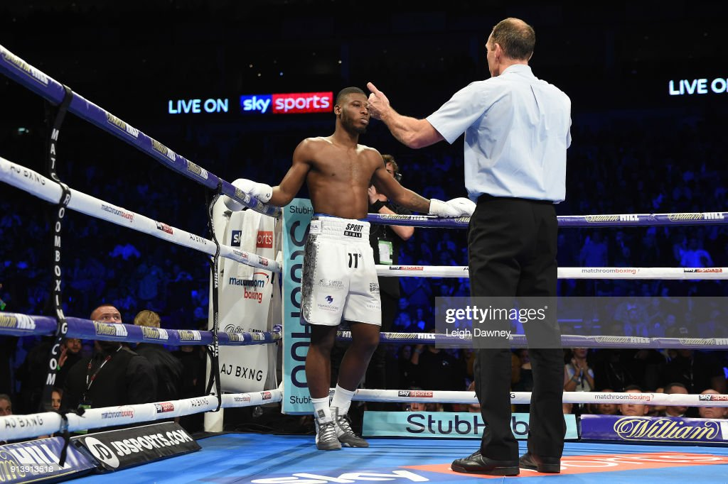 Issac Chamberlain is counted by the referee during his fight against Lawrence Okolie for the vacant WBA Continental Cruiserweight title at The O2 Arena on February 3, 2018 in London, England.