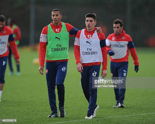 Issac Hayden and Hector Bellerin of Arsenal during a training session at London Colney on December 12 2014 in St Albans England Photo by Stuart...