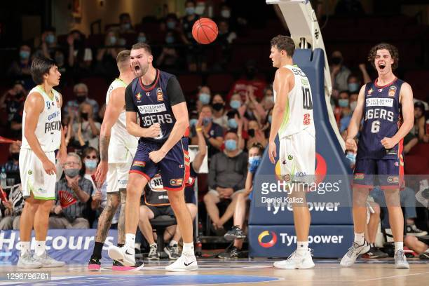 Issac Humhpries of the 36ers celebrates during the round one NBL match between the Adelaide 36ers and the South East Melbourne Phoenix at Adelaide...