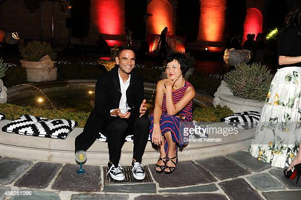 Issac Joesph and Christine Y Kim attend LAXART Gala at Greystone Mansion on September 27 2014 in Beverly Hills California