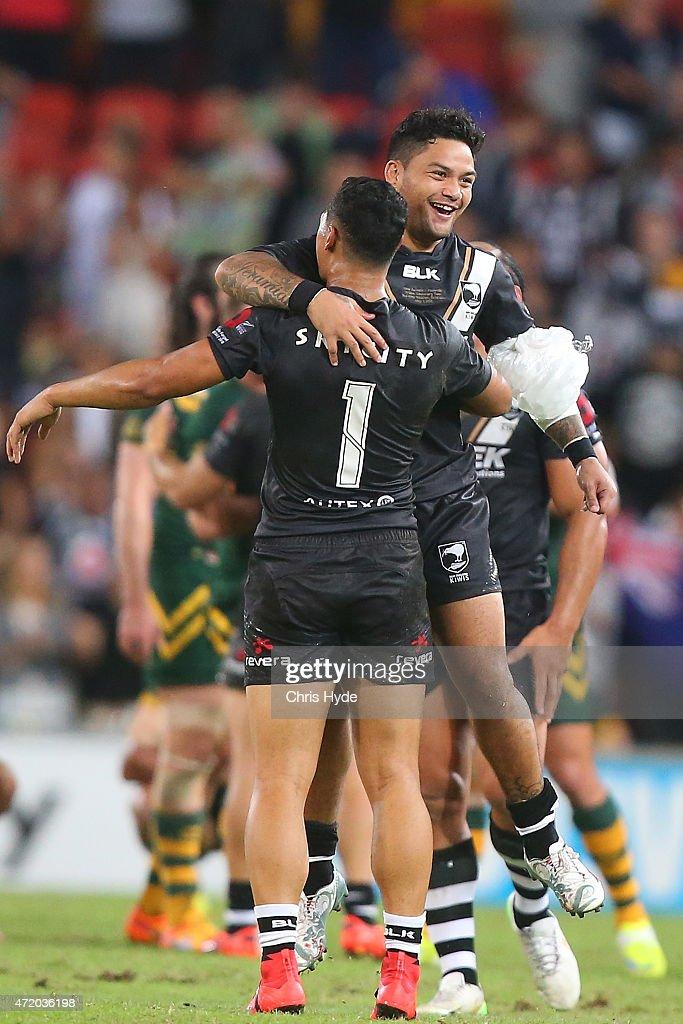 Issac Luke and Roger Tuivasa-Sheck of New Zealand celebrate winning the Trans-Tasman Test match between the Australia Kangaroos and the New Zealand Kiwis at Suncorp Stadium on May 3, 2015 in Brisbane, Australia.
