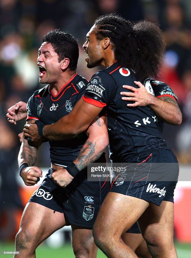 Issac Luke celebrates his try during the round seven NRL match between the New Zealand Warriors and the St George Illawarra Dragons at Mt Smart Stadium on April 20, 2018 in Auckland, New Zealand.