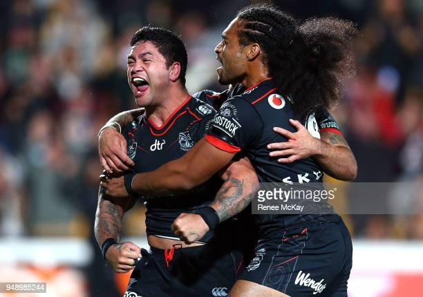 Issac Luke celebrates his try during the round seven NRL match between the New Zealand Warriors and the St George Illawarra Dragons at Mt Smart...
