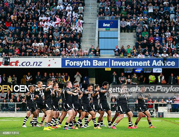Issac Luke of New Zealand leading the Haka before the Four Nations match between the New Zealand Kiwis and England at Forsyth Barr Stadium on...