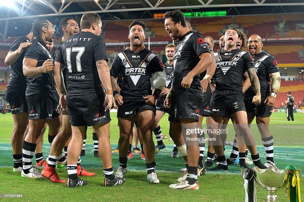 Issac Luke of the Kiwis and team mates perform the Haka after the Trans-Tasman Test match between the Australia Kangaroos and the New Zealand Kiwis at Suncorp Stadium on May 3, 2015 in Brisbane, Australia.