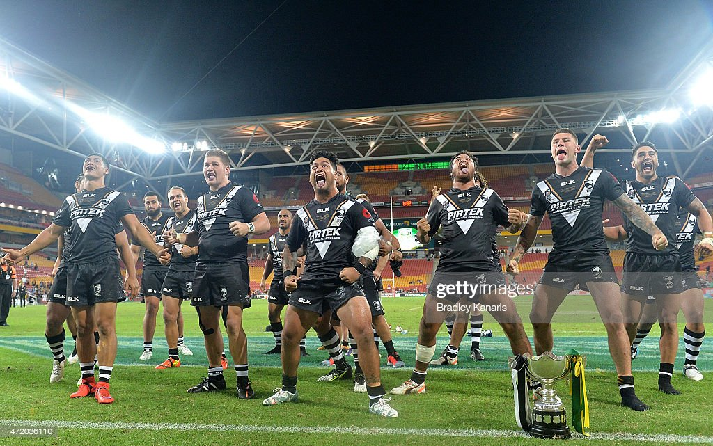 Issac Luke of the Kiwis and team mates perform the Haka as they celebrate their victory after the Trans-Tasman Test match between the Australia Kangaroos and the New Zealand Kiwis at Suncorp Stadium on May 3, 2015 in Brisbane, Australia.