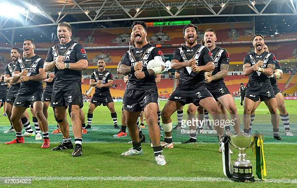 Issac Luke of the Kiwis leads his team into the Haka as they celebrate their victory after the TransTasman Test match between the Australia Kangaroos...