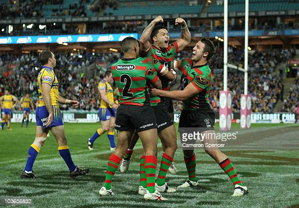 Issac Luke of the Rabbitohs celebrates scoring a try during the round 25 NRL match between the South Sydney Rabbitohs and the Parramatta Eels at ANZ...