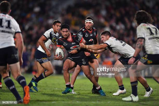 Issac Luke of the Warriors charges forward during the round five NRL match between the New Zealand Warriors and the North Queensland Cowboys at Mt...