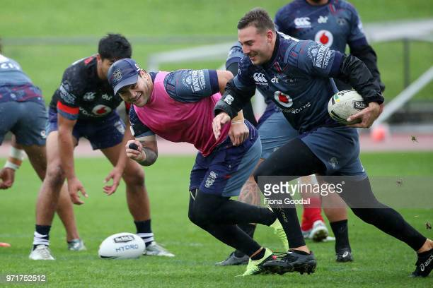 Issac Luke of the Warriors during a New Zealand Warriors NRL training session at Mt Smart Stadium on June 12 2018 in Auckland New Zealand