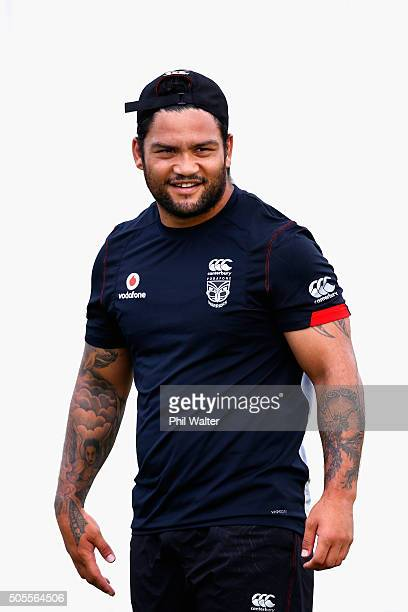 Issac Luke of the Warriors looks on during a New Zealand Warriors NRL training session at Mt Smart Stadium on January 19, 2016 in Auckland, New...