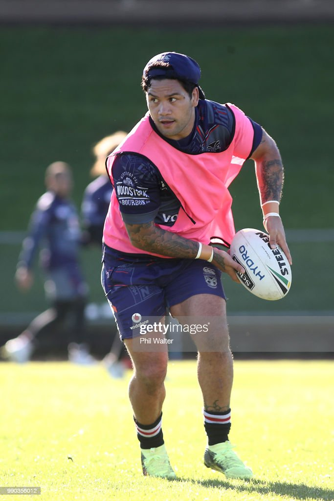 Issac Luke of the Warriors passes during a New Zealand Warriors NRL training session at Mount Smart Stadium on July 3, 2018 in Auckland, New Zealand.