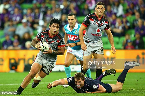 Issac Luke of the Warriors runs during the round eight NRL match between the Melbourne Storm and the New Zealand Warriors at AAMI Park on April 25...