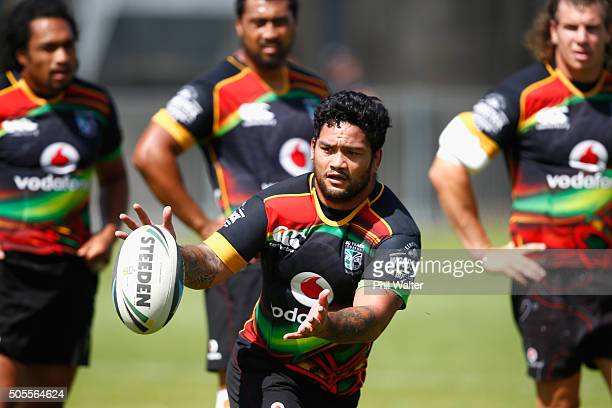 Issac Luke of the Warriors takes a pass during a New Zealand Warriors NRL training session at Mt Smart Stadium on January 19, 2016 in Auckland, New...