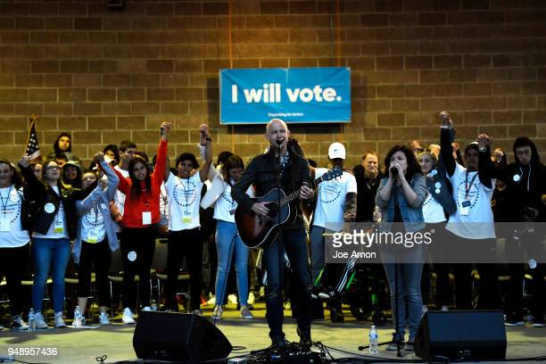 Issac Slade of the Fray with his wife Anna perform 'How to Save a Life' with students from Marjory Stoneman Douglas High School Pittsburgh Columbine...