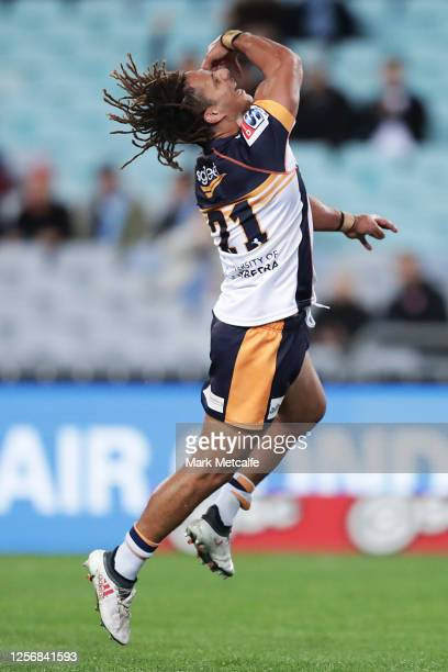 Issak Fines of the Brumbies celebrates scoring a try during the round three Super Rugby AU match between the Waratahs and the Brumbies at ANZ Stadium...