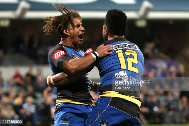 Issak Fines-Leleiwasa and Henry Taefu of the Force celebrate a try during the Rapid Rugby match between the Western Force and Fijian Latui at HBF...