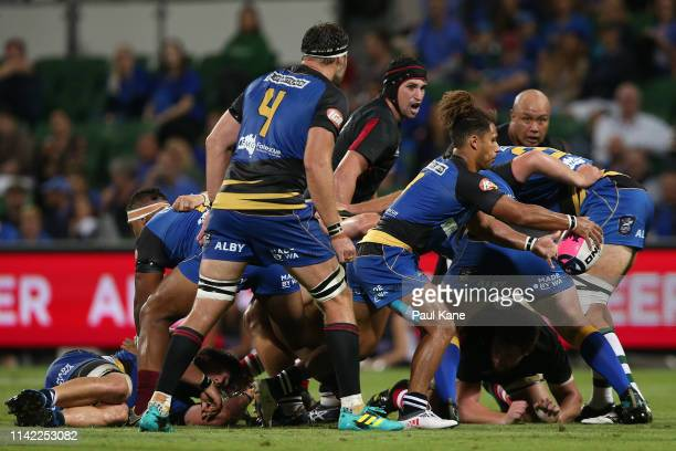 Issak FinesLeleiwasa of the Force looks to clear the ball during the Rapid Rugby match between the Western Force and the Asia Pacific Dragons at HBF...