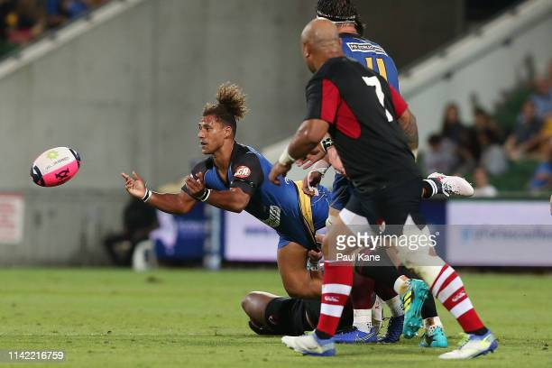 Issak FinesLeleiwasa of the Force passes the ball during the Rapid Rugby match between the Western Force and the Asia Pacific Dragons at HBF Stadium...