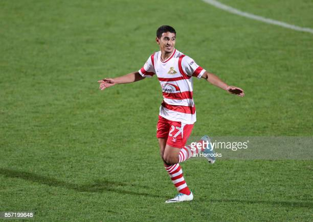 Issam Ben Khemis of Doncaster celebrates after he scores the opening goal during the Checkertrade Trophy match between Doncaster Rovers and...
