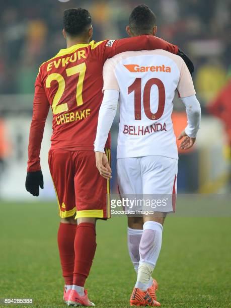 Issam Chebake of Malatyaspor, Younes Belhanda of Galatasaray during the Turkish Super lig match between Malatyaspor v Galatasaray at the Malatya...