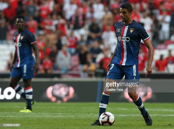 Issam El Adoua of Desportivo das Aves in action during the Liga NOS match between SL Benfica and CD Aves at Estadio da Luz on September 23 2018 in...