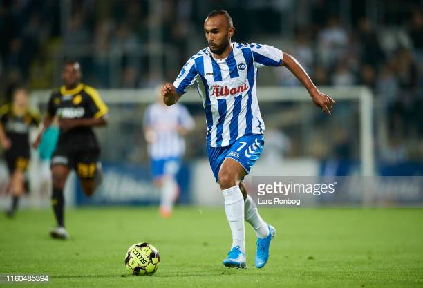 Issam Jebali of OB Odense controls the ball during the Danish 3F Superliga match between OB Odense and Randers FC at Nature Energy Park on August 9,...