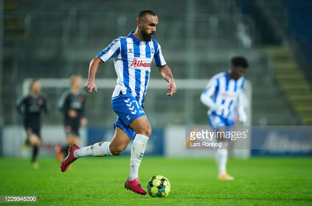 Issam Jebali of OB Odense controls the ball during the Danish 3F Superliga match between OB Odense and AaB Aalborg at Nature Energy Park on December...