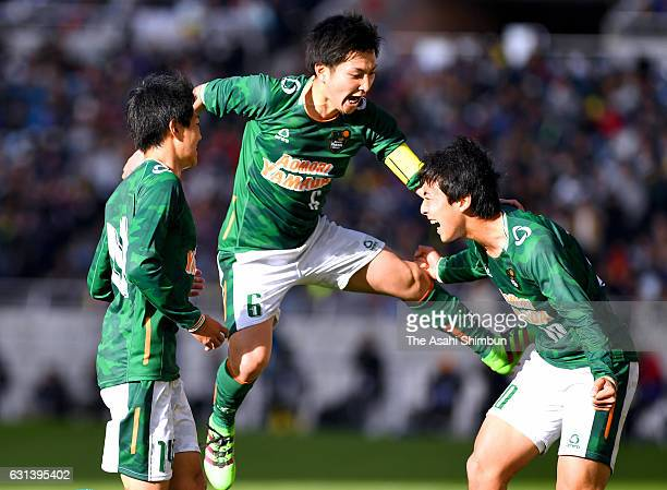 Issei Takahashi of Aomori Yamada celebrates scoring his side's first goal with his team mates during the 95th All Japan High School Soccer Tournament...