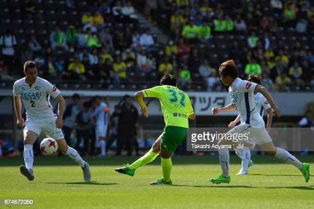 Issei Takahashi of JEF United Chiba scores the opening goal during the JLeague J2 match between JEF United Chiba and Tokushima Vortis at Fukuda...
