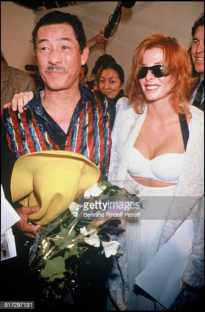 Issey Miyake and Mylene Farmer Backstage Issey Miyake ready to wear fashion show spring summer 1994 collection in Paris