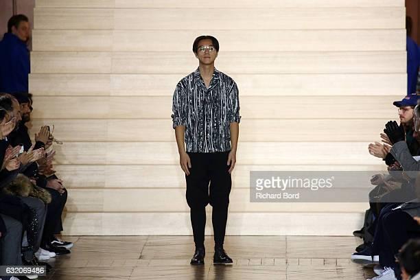 Issey Miyake walks the runway during the Issey Miyake Men Menswear Fall/Winter 2017-2018 show as part of Paris Fashion Week on January 19, 2017 in...
