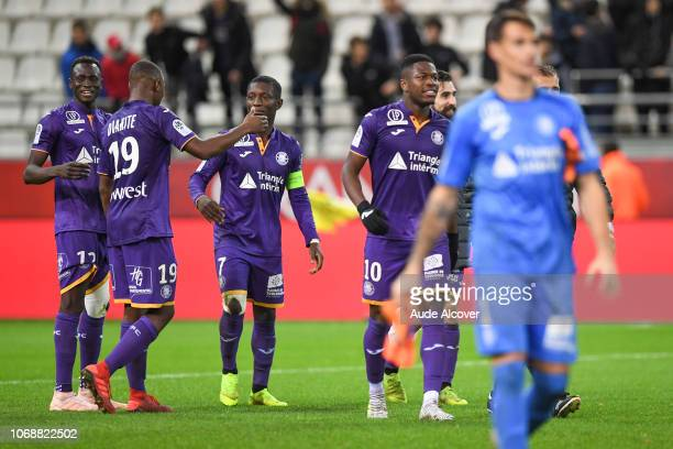 Issiaga Sylla Bafode Diakite Max gradel and Aaron Leya Iseka of Toulouse celebrate during the Ligue 1 match between Stade de Reims and Toulouse FC on...