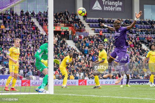 April 7: Issiaga Sylla of Toulouse heads the winning goal from close range after the ball came back off the post during the Toulouse FC V Nantes,...