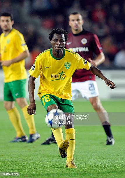 Issiaka Bello of MSK Zilina during the Champions League Playoff match between Sparta Prague and Zilina at Generali Arena on August 17 2010 in Prague...