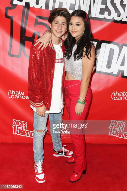 Issie Swickle and Zach Hennessey attend Zach Hennessey's 15th Birthday Party In Support Of iIHateCancerorg at The Industry Loft Space on July 14 2019...