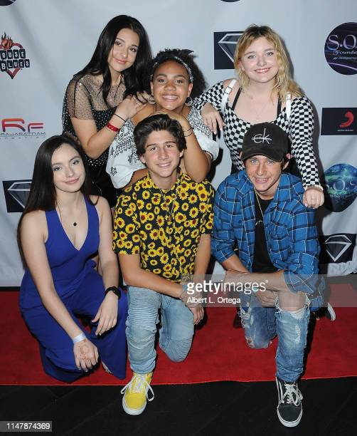 Issie Swickle Jillian Estell Maegan Cohen Paris Bravo Zach Hennessey and JJ Hennessey attend the SOS Pre Tour Launch Party held at The Roxy Theatre...