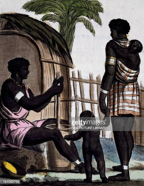 Issinia women working the rice colour engraving from a drawing by Labrousse from Encyclopedia of voyages by Jacques Grasset de SaintSauveur 17951796...