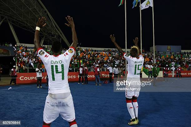 Issoufou Dayo and Aristide Bance of Burkina Faso celebrate after the 2017 Africa Cup of Nations quarterfinal football match between Burkina Faso and...