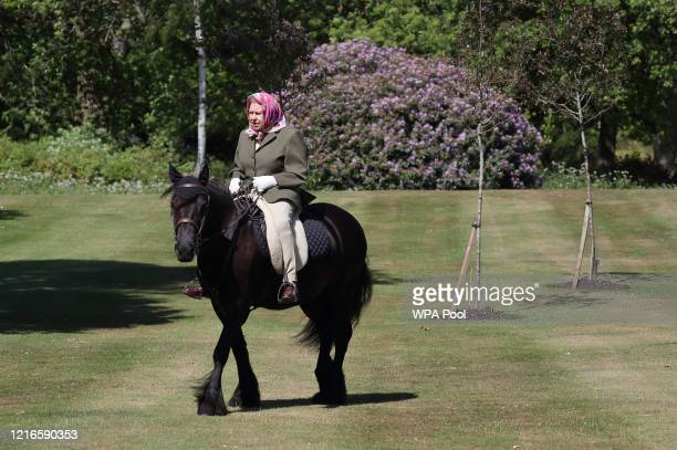 Issue date Sunday May 31 Queen Elizabeth II rides Balmoral Fern a 14yearold Fell Pony in Windsor Home Park over the weekend of May 30 and May 31 2020...