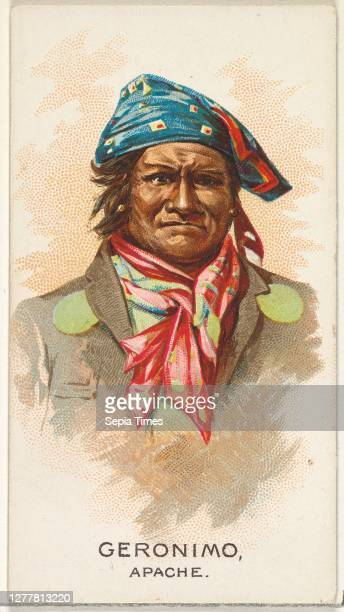 Issued by Allen & Ginter, Geronimo, Apache, from the American Indian Chiefs series for Allen & Ginter Cigarettes Brands Commercial color lithograph,...